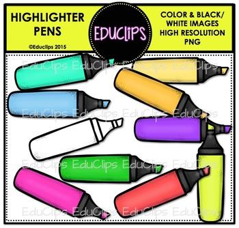 FREE - Highlighter Pens Clip Art Bundle