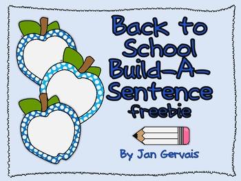 Back To School Build A Sentence Freebie