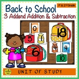 Back To School Build a 3 Addend Addition & Subtraction Number Sentence