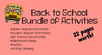 Back To School Bundle [Teacher Info & Activities]