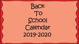 Back To School Calendar 2018-2019