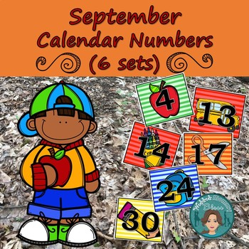 Back To School Calendar Numbers (6 sets) 1-31