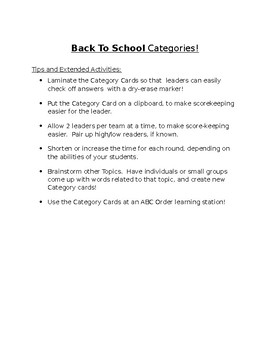 Back To School Game - Categories