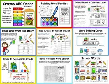 Back To School Centers, Word Work, and Activities BUNDLE!  First Week of School!
