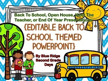 Back To School Chevron Editable Powerpoint - Also End of Year, Meet The Teacher