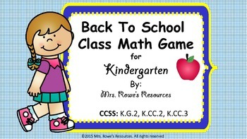 Back To School Class Math Game Kindergarten