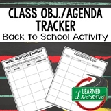 Back To School Class Objective and Agenda Recorder and Lea