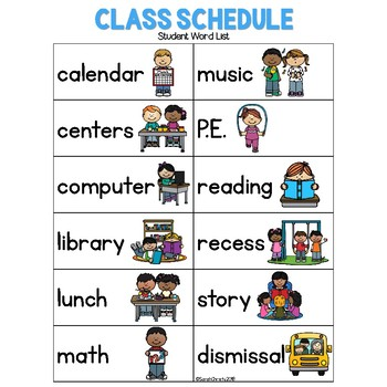 Back To School: Class Schedule Write the Room