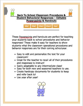Back To School Classroom Procedures & Responses - Powerpoints & Handouts