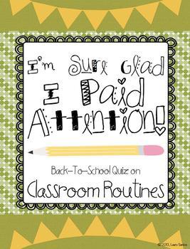 Back To School Classroom Routines Quiz