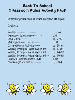 Back To School Classroom Rules Activity Pack Featuring the 4 Bees