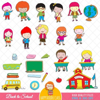 Back To School Clip Art Bundle. 67 pieces.