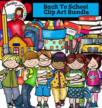 Back To School Clip Art Bundle-Color and B&W-