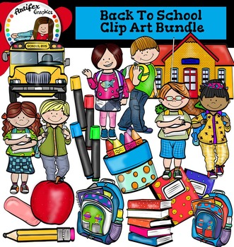 Back To School Clip Art -Color and B&W-