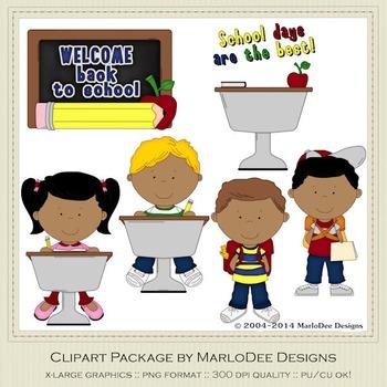 Back To School Clip Art Graphics Set 2 African American Children