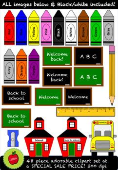 Back To School Clipart (48 piece) 300dpi
