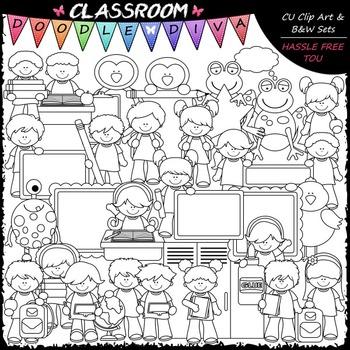 Back To School Clip Art & B&W Bundle