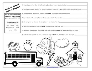 Back To School Color a Rhyme Free