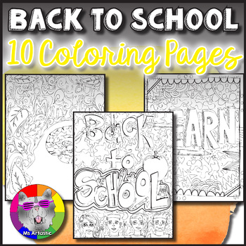 Back To School Coloring Sheets. Zen Doodle Pages.