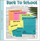 Back To School Communication Templates Beach / Surf Editable