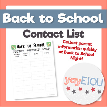 Back To School Contact List