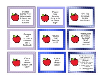 Back To School Conversation Cards