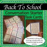 Back To School Conversation Starter Task Cards