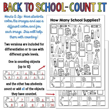 "Back To School ""Count It"" FREEBIE  - GREAT for the First Week Of School!"