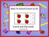 Back to School Kindergarten Math Center Activities Counting Task Cards