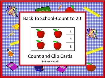 Back to School Kindergarten Math Center Activities Counting Task Cards