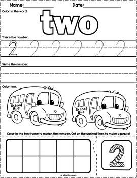 Back To School Count & Write Math Worksheets