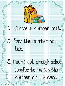 Back To School Counting Mat