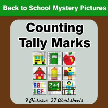 Back To School: Counting Tally Marks - Math Mystery Pictures / Color By Number