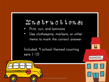 Back To School: Counting Task Cards