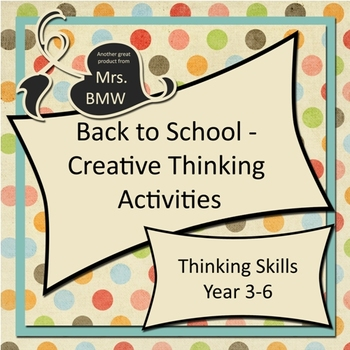 Back To School - Creative Thinking Activity Pack