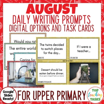 Daily Writing Prompts August NZ PowerPoint, Journal, Worksheets