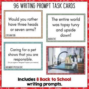 Daily Writing Prompts PowerPoint, Journal, Worksheets August and September US