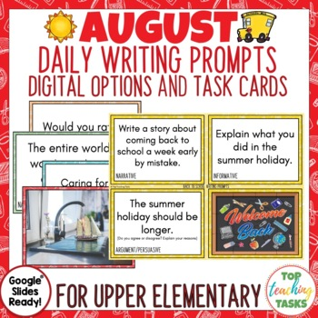 Daily Writing Prompts August and September US PowerPoint, Journal, Worksheets