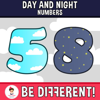 Back To School - Day And Night Numbers Clipart