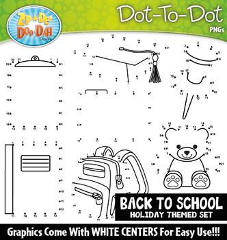 Back To School Day Dot-To-Dot Clipart {Zip-A-Dee-Doo-Dah Designs}