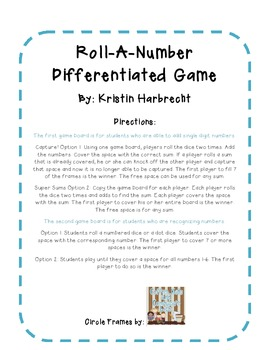 Back To School Differentiated Math Game