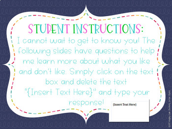 Back To School Digital Task Cards to get to know your students! GOOGLE Slide