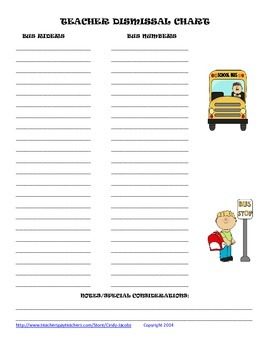 Back To School Dismissal Chart