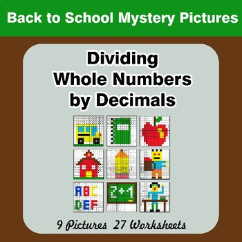 Back To School: Dividing Whole Numbers by Decimals - Math Mystery Pictures