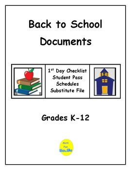 Back To School Documents for Teachers and Administrators
