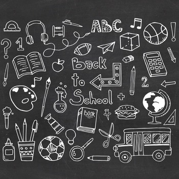 Back To School Doodle Clipart Set - Instant Download