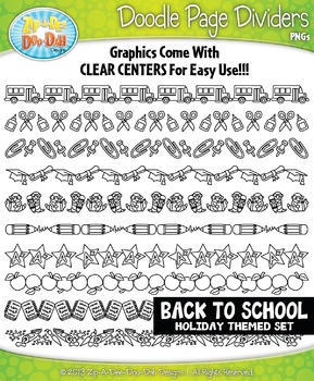 Back To School Doodle Page Divider Clipart {Zip-A-Dee-Doo-Dah Designs}