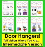 """Back To School Door Hangers-""""We are at...""""-For Intermediate Classrooms"""