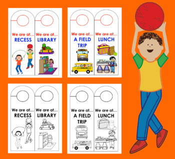 "Back To School Door Hangers-""We are at...""-For Primary Classrooms"