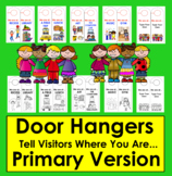 """Back To School Door Hangers-""""We are at...""""-For Primary Classrooms"""